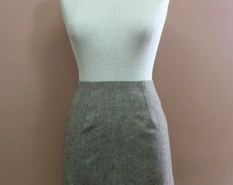 1960s Style Brown Herringbone Wool Mini Skirt Sz. Medium