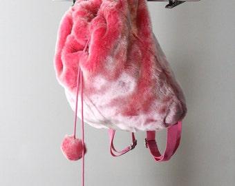 Bubblegum Pink Faux Fur 90s Mini Backpack