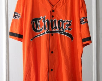 "90s Orange and Black ""Thugz"" Baseball-Style Jersey"