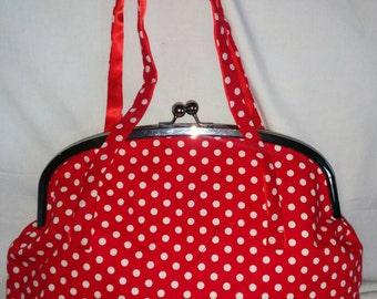 Handmade Frame Bag in Red & White Polka Dot Spot Print