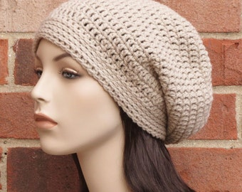 Crochet Slouchy Beanie Hat Basic Slouch Womens // THE BOSTON // Sand Beige
