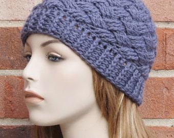 Womens Beanie Hat - Steel Grey Crochet Beanie Hat - Womens Basketweave Crochet Hat - Winter Accessories // THE BRISTOL //