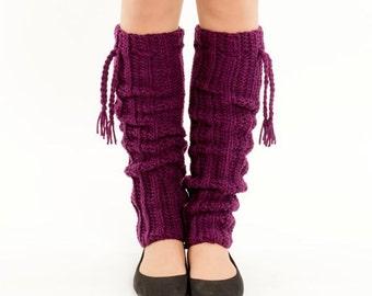 SALE--Plum Tassel Knit Leg Warmers, Crocheted Boot Socks, Leggings, Handmade Women's Warm,  Winter Accessory, Dance Wear, Exercise, Ballet