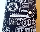 Kindle Fire HD 6 or 7 Kindle Paperwhite or Voyage case Nook Samsung Tab4 Ipad Mini Black and White Chalk Jesus Lord of Lords Custom order