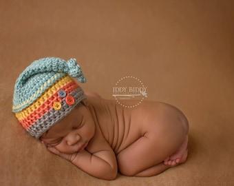 Newborn Knot Top Hat  - Striped Hat - Baby Boy-Photo Prop