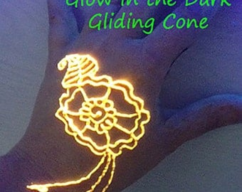 Pre-made Glow Gliding Cone -Mehndi, bridal, gift for her, girlfriend, rave,body art, cool, teens,party