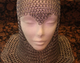 Chainmaille Armor Helm Coif head piece With Ventail