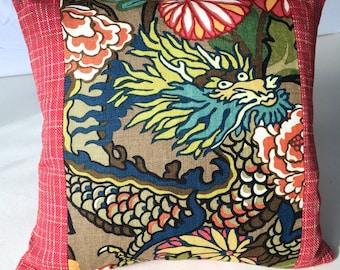 F Schumacher Mocha Chiang Mai Dragon Pillow Cover, 19 x 18, Designer throw pillows