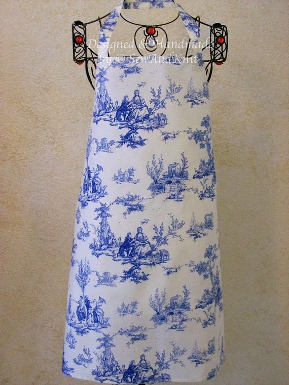 Toile Apron -  Handmade Blue Toile French Country Kitchen Full Women's Chef Apron