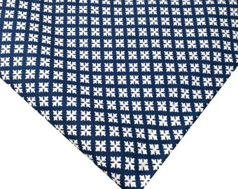 Indian Fabric - Cotton Fabric - White and Blue Tiny Flowers Block Print Cotton Fabric By Yard