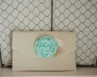 Mint Clutch Wedding Purse Burlap Wedding Bridesmaid Gift Idea Rustic Wedding Mint Bridesmaid Clutches