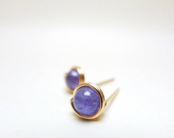 Tanzanite Earstuds / 925silver/ 14k Yellow Gold-filled / 14k Rose Gold-filled