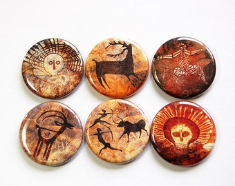 Cave Drawing magnets, Magnets, button magnets, Locker Magnets, Kitchen Magnets, stocking stuffer, Bulletin Board Magnets, Brown (4648)