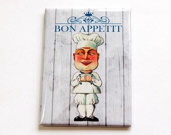 Kitchen Magnet, Bon Apppetit, Fridge magnet, ACEO, Bon Apppetit Magnet, Chef Magnet, Chef, Refrigerator Magnet (4732)