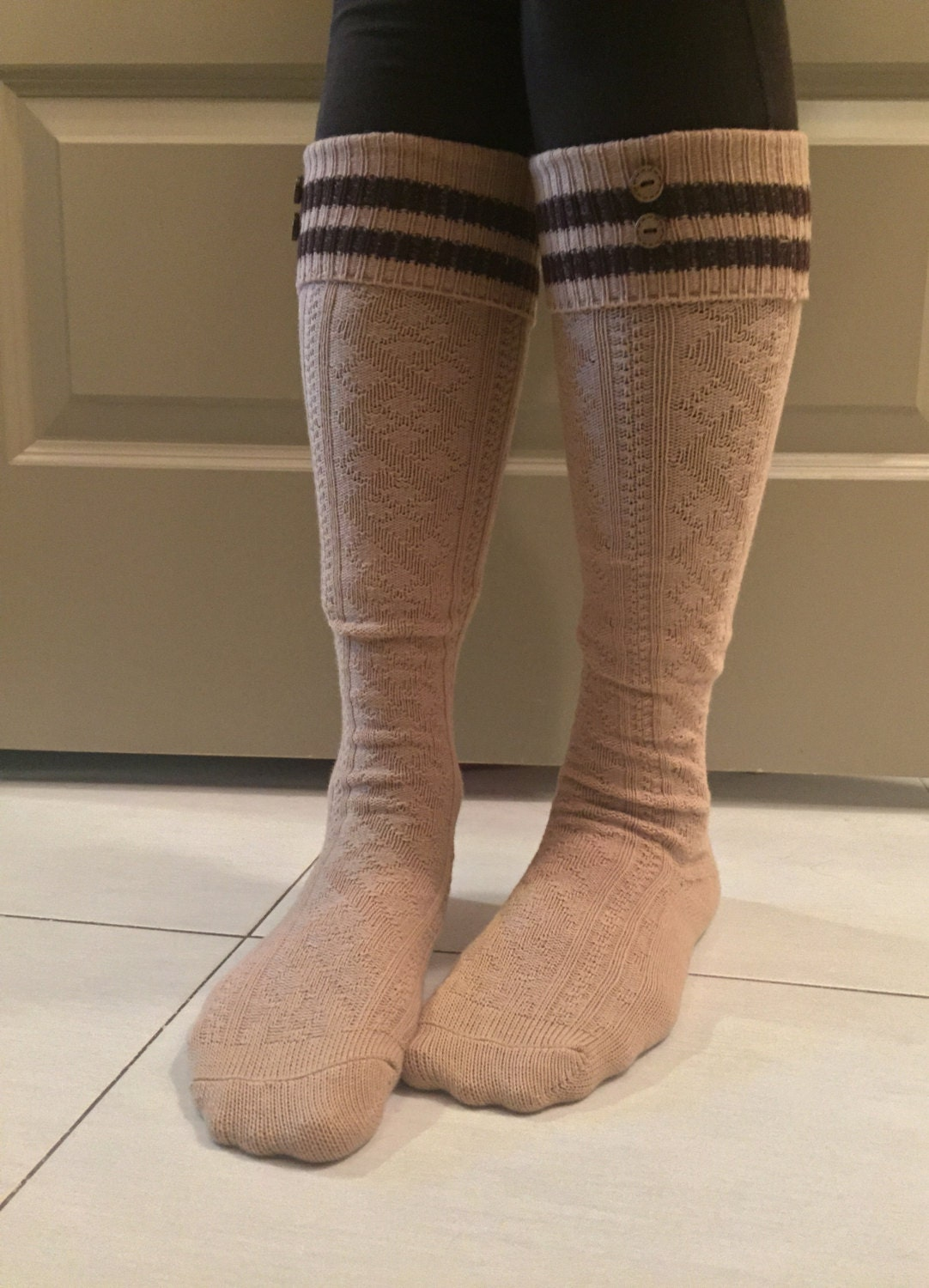 boot socks cable knit knee high with by ashhopestudio