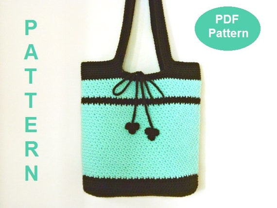 Beginner Crochet Tote Bag Pattern : Crochet Bag Pattern, Crochet Tote Bag Pattern, Mint Tote Bag, Easy PDF ...