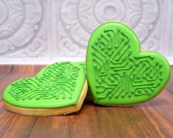 Decorated Cookies - Circuit Hearts - 1 DOZEN