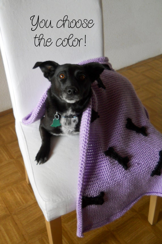 Personalized Dog Blanket Afghan Crochet - Made to Order - Puppy Bones and Name - Many Colors Available