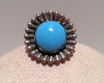 Vintage Ring with Faux Persian Turquoise Stone