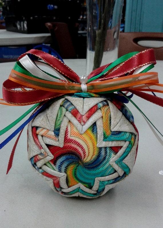 Folded fabric ornament multi colored