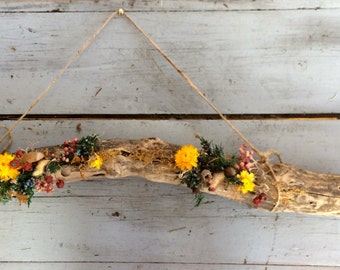 Weathered wood branch - Woodland Meadow. Grapevine wreath alternative tablescape centerpiece flower arrangement wall hanging rustic foraged