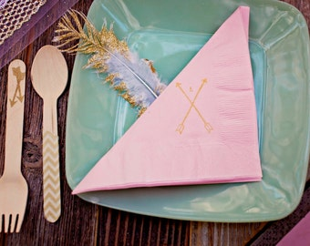 Personalized Rustic Arrow Light Pink Baby Shower Dinner Napkins with Initials Monogram- Set of 50