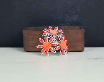 Vintage Enamel Flower Brooch, Bright orange / white dimensional daisy flower