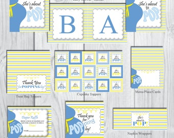 She's About to POP Party Package-Boy Party Package-Baby Shower Party Package-Belly Bump Party Theme-Blue & Yellow-INSTANT DOWNLOAD