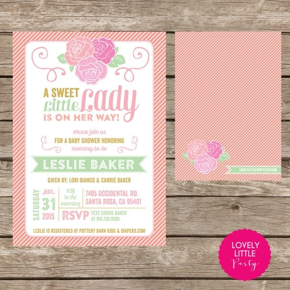 Printable Little Lady Rose themed Baby Girl Shower Invitation- Lovely Little Party