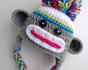 Ready to Ship- Newborn Girls Sock Monkey Hat, Pink, Green, blue, Purple, Photo prop