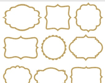9 Glitter Frames Clipart - For Personal and Commercial Use - INSTANT DOWNLOAD