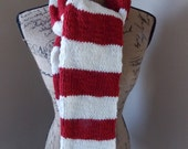 Red and White Stripe Scarf, Christmas, Valentine, School colors, candy cane, alpaca wool blend, scarlet red, peppermint stick, handmade