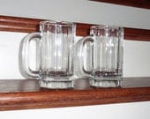 """2 LIBBEY BEER MUGS 18 Oz. Glasses Handled Plain Panel Clear Heavy Glass Crystal  6"""" Tall Quality Excellent Condition"""