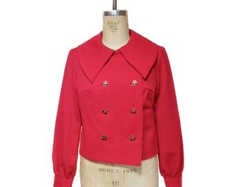vintage 1960s cherry jacket / novelty buttons / wide collar / statement collar / 60s boxy jacket / women's vintage jacket / size large