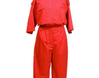 vintage 1980s DIANE von FURSTENBERG jumpsuit / DVF / red / cotton / onesie romper / safari cargo / women's vintage jumpsuit / size 14