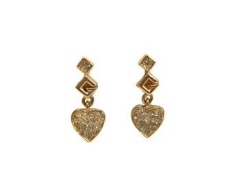 vintage 1980s GIVENCHY heart earrings / gold rhinestones / small clip on earrings / dainty delicate jewelry / women's vintage jewelry