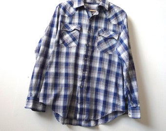 Levi's PLAID blue & silver classic plaid checker WESTERN long sleeve PEARL button up down
