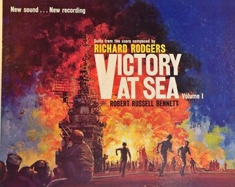 Vintage Vinyl Record TV Soundtrack Richard Rodgers  Victory at Sea LP Album of Orchestral Music 1959