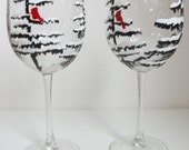 Hand Painted Wine Glasses - Winter Trees with Cardinal Wine Glasses - Holiday Glasses