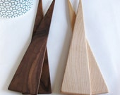Salad Server - minimalist eco design in a variety of native hardwoods.