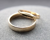 Wedding Ring Set: 9ct Yellow Gold Wedding Band Set, 2mm Womens Ring, 4mm Mens Band, Shiny Finish, Custom Made To Order