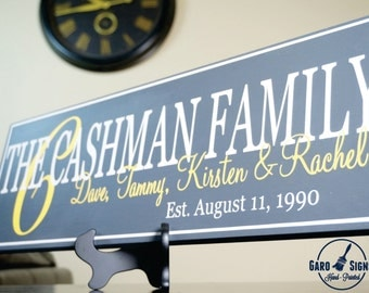Personalized Family Sign Last Name Sign Family Established Sign: Hand Painted 7 x 22