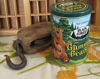 Black Forest Gummy Bears from West Germany Vintage Candy Tin - First Design in Collectors Series 1990