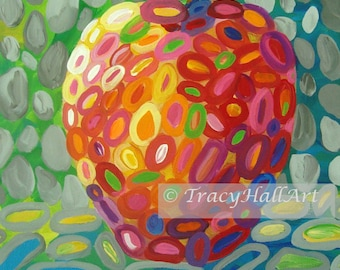 "Colorful Apple Art PRINT from original painting ""Apple Whimsy"" by Tracy Hall"