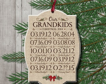Grandparents Christmas Ornament 2014 Grandkids Special Dates and Names Wood Photo Ornament Gift for Grandparents Personalized Custom