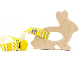 Bunny Teether - Wood Baby Toy, Natural, Organic Maple Baby Wood Toy Easter
