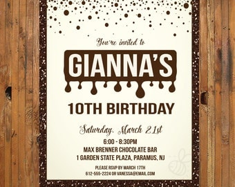 Chocolate Birthday Party Invitation - Chocolate Invitation - Item 0235