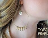 Boho Chic Gypsy Hoop Earrings Dangling Beads Best Fashion lead  free antiquie Brass Bronze metal Bohemian Ethnic Authentic by TOPAZ PEARLS