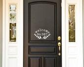 Custom Vinyl Front Door Welcome with House Number.