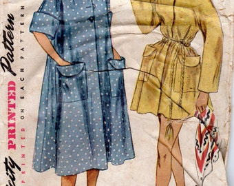 """1950s Women's Robe or Beach Cover-up Pattern - Size 12, Bust 30"""" - Simplicity 3592"""